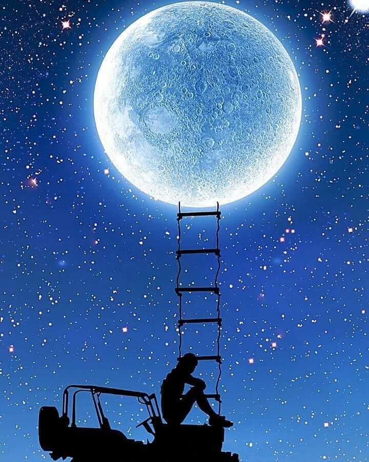عکس پروفایل ماه و تنهایی